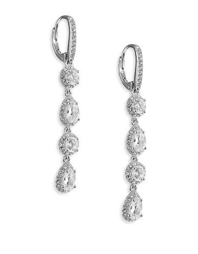 Nadri Framed Pave Linear Drop Earrings-SILVER-One Size