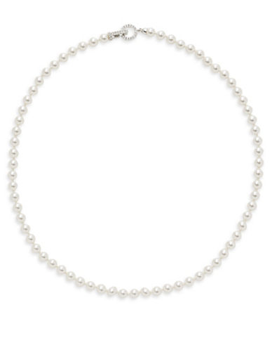 Nadri Faux Pearl Pave Closure Necklace-WHITE-One Size