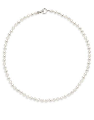 Nadri Faux Pearl Pave Closure Necklace-WHITE-One Size