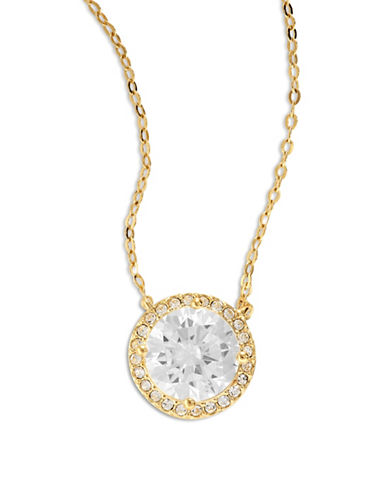 Nadri Goldtone Disc Pendant Necklace-GOLD-One Size