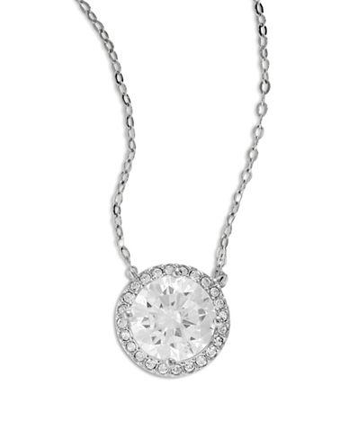 Nadri Silvertone Disc Pendant Necklace-SILVER-One Size
