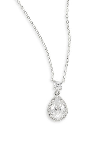 Nadri Mini Pear Pendant Necklace-SILVER-One Size