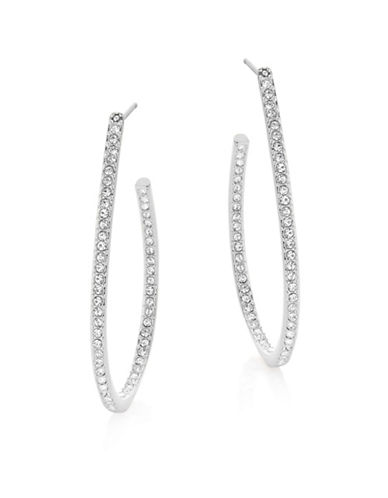 Nadri Pave Teardrop Hoop Earrings-SILVER-One Size