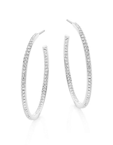Nadri 1.25-Inch Pave Hoop Earrings-SILVER-One Size