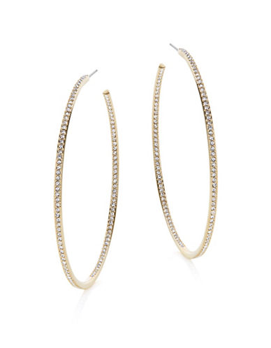 Nadri 2-Inch Pave Hoop Earrings-GOLD-One Size
