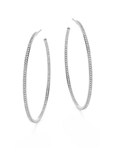 Nadri 2-Inch Pave Hoop Earrings-SILVER-One Size