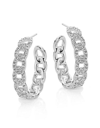 Nadri Pave Chain Link Hoop Earrings-SILVER-One Size