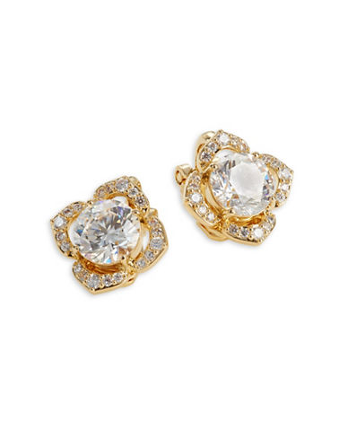 Nadri Pave Floral Clip-On Earrings-GOLD-One Size