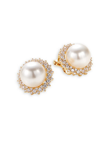 Nadri Faux Pearl Goldtone Clip-On Earrings-WHITE-One Size