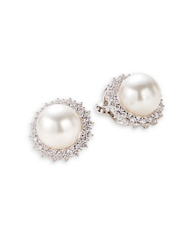 Nadri Faux Pearl Silvertone Clip-On Earrings-WHITE-One Size