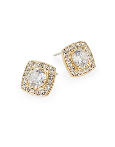 Nadri Multifaceted Pave Square Studs-GOLD-One Size