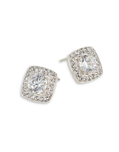 Nadri Multifaceted Pave Square Studs-SILVER-One Size