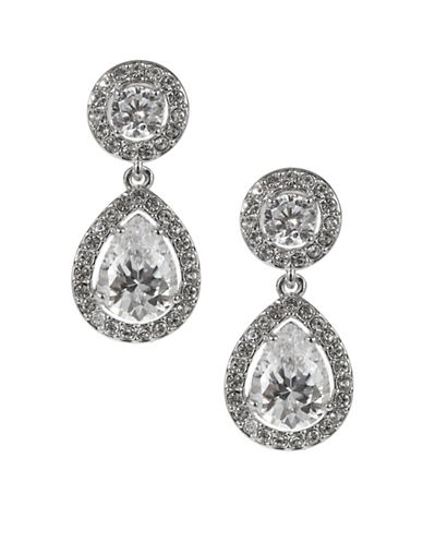Nadri Framed Double Drop Earrings-SILVER-One Size