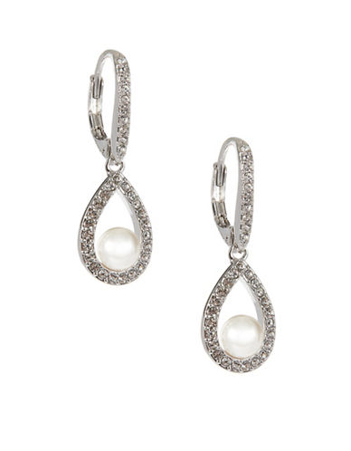 Nadri Framed Pave Drop Earrings-SILVER-One Size
