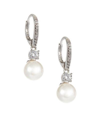 Nadri Faux Pearl Drop Earrings-SILVER-One Size