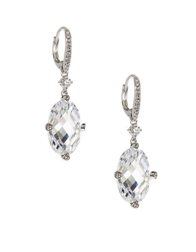 Nadri Multifaceted Oval Drop Earrings-SILVER-One Size