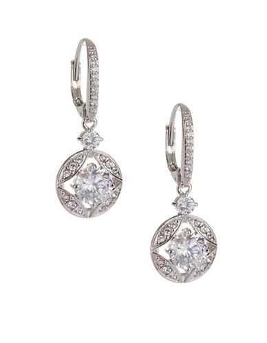 Nadri Petal Pave Drop Earrings-SILVER-One Size