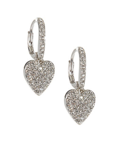 Nadri Heart Drop Pave Earrings-SILVER-One Size