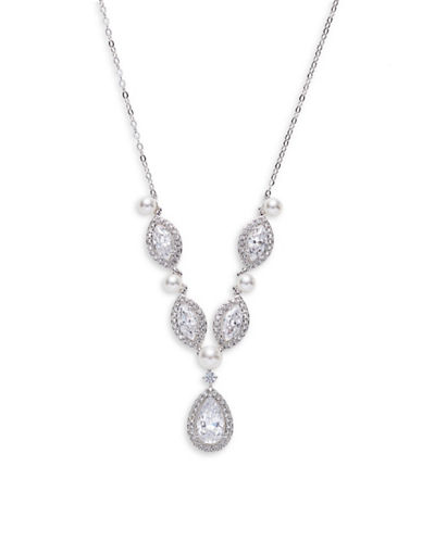 Nadri Teardrop Link Statement Necklace-SILVER-One Size