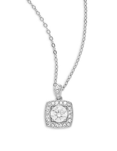 Nadri Framed Square Pendant Necklace-SILVER-One Size