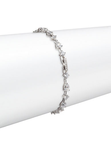 Nadri Pear and Round Stone Tennis Bracelet-SILVER-One Size