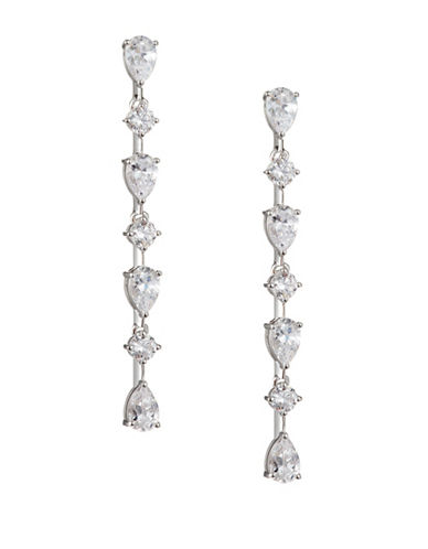 Nadri Pear and Round Linear Drop Earrings-SILVER-One Size