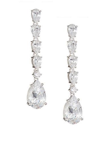 Nadri Pear Stone Linear Drop Earrings-SILVER-One Size