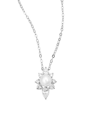 Nadri Faux Pearl Charm Necklace-SILVER-One Size