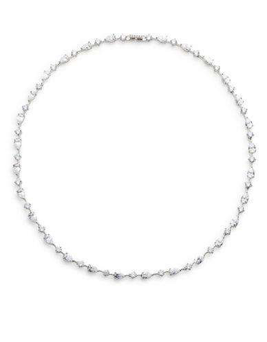 Nadri Pear and Round Stone Surround Necklace-SILVER-One Size