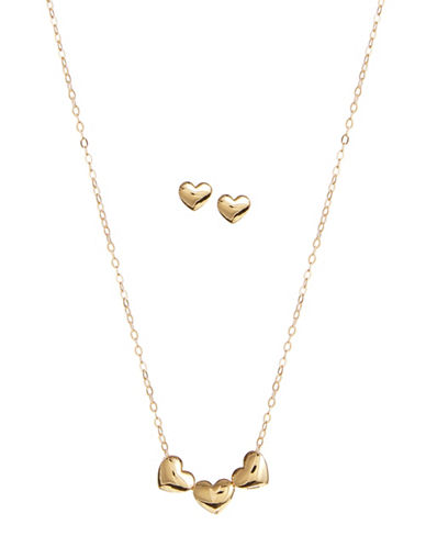 Nadri Trio Heart Earrings and Necklace Set-GOLD-One Size