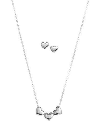 Nadri Trio Heart Earrings and Necklace Set-SILVER-One Size