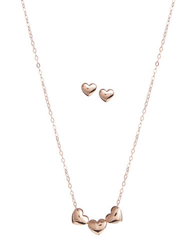 Nadri Trio Heart Earrings and Necklace Set-PINK-One Size