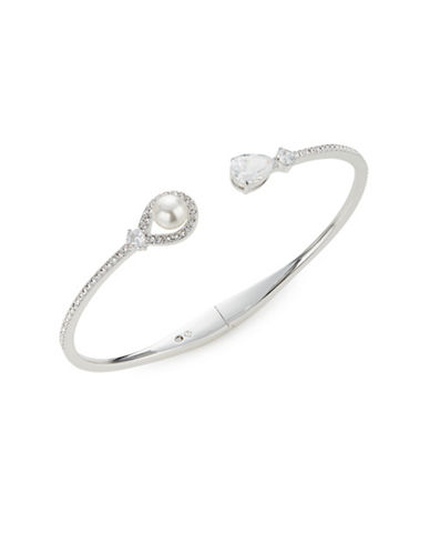 Nadri Lily Tipped Hinged Cuff-PEARL-One Size