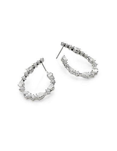 Nadri Boxed Silvertone Front-to-Back Hoop Earrings-SILVER-One Size