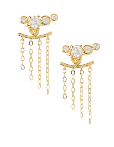 Nadri Confetti Fringe Front-to-Back Earrings-GOLD-One Size