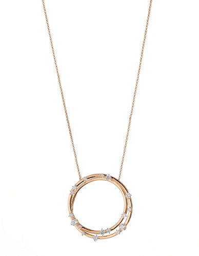 Nadri Spica Circle Pendant Necklace-ROSE GOLD-One Size