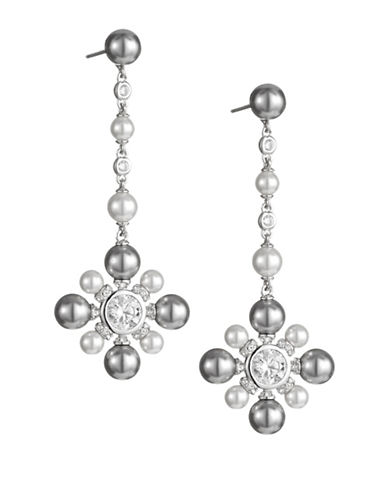 Nadri Floral Drop Earrings-SILVER-One Size