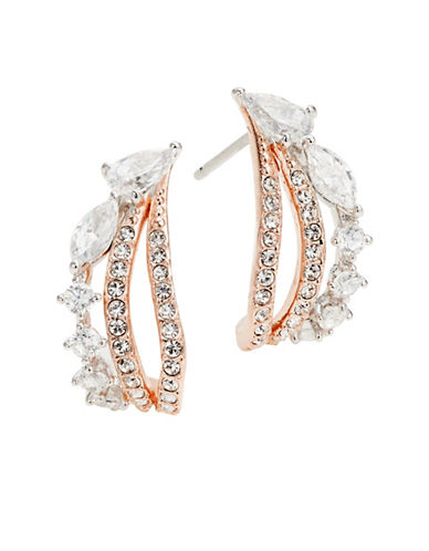 Nadri Two-Tone Small Hoop Earrings-ROSE GOLD-One Size