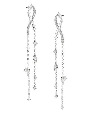 Nadri Linear Chain Earrings-RHODIUM-One Size