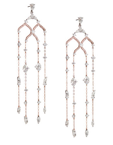 Nadri Drop Chain Chandelier Earrings-ROSE GOLD-One Size