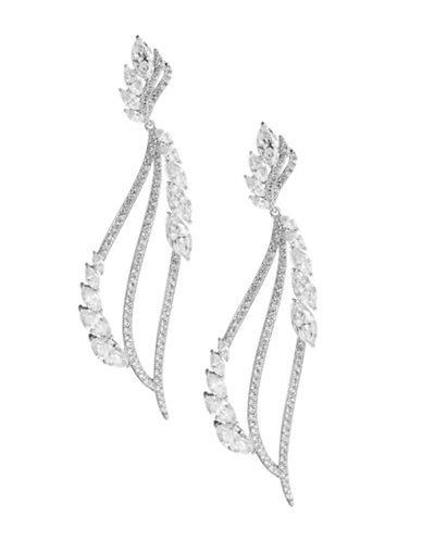 Nadri Pave Long Leaf Earrings-RHODIUM-One Size