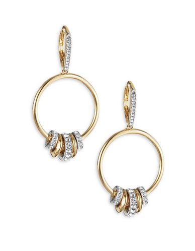 Nadri Spindle Hoop Drop Earrings-GOLD-One Size