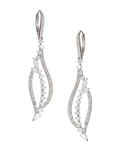 Nadri Silvertone Drop Earrings-RHODIUM-One Size