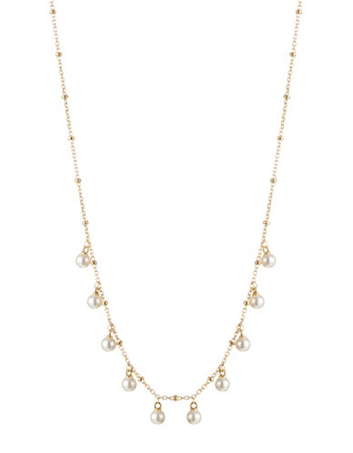 Nadri Faux Pearl Dangle Necklace-GOLD-One Size