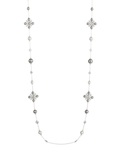 Nadri Faux Pearl Station Necklace-SILVER-One Size