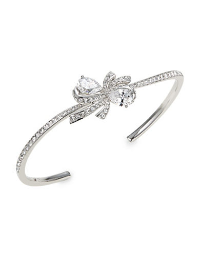 Nadri Marion Bow Crystal Cuff Bracelet-SILVER-One Size