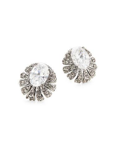 Nadri Gladys Faceted Seashell Stud Earrings-BLACK-One Size