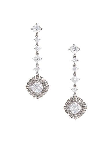 Nadri Gladys Multi-Stone Link Drop Earrings-SILVER-One Size