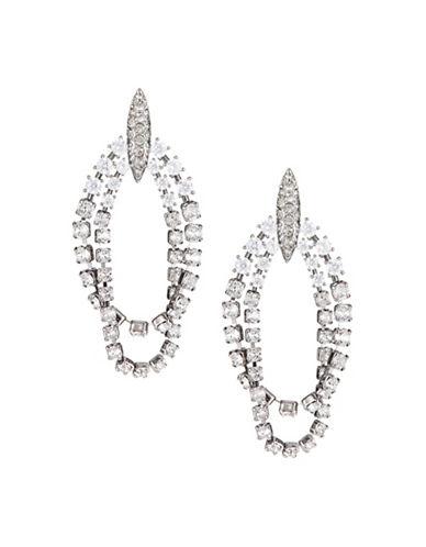Nadri Gladys Two-Row Link Hoop Earrings-SILVER-One Size