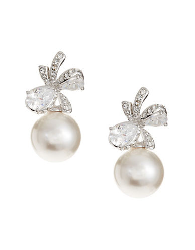 Nadri 10MM White Pearl Marion Bow Earrings-WHITE-One Size